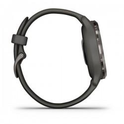 Venu® 2S Popielata ramka ze stali nierdzewnej z grafitową kopertą i silikonowym paskiem
